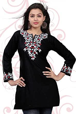 Womens Designer Cotton Tunic Top Kurti Blouse India Clothes (Black, S)