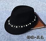 gorro de invierno beanie mujer tejida de punto de la gorrita Vaquero Perlas Negro