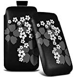 Black High Floral Pattern Pull Tab Pouch Skin Case Cover For Motorola MOTO G 8GB XT1032 (XL) Mobile Cellular Phone