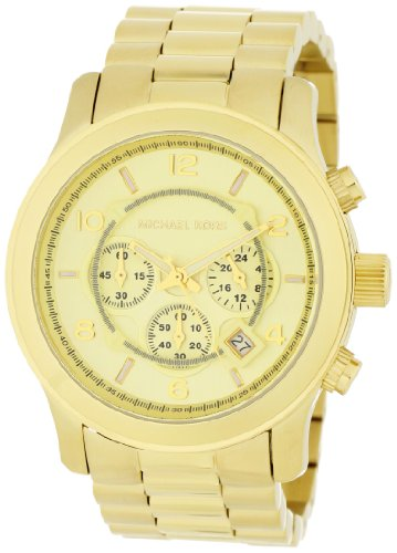 Michael Kors Mk8077 Unisex Watch with Gold Plated Bracelet and Gold Dial