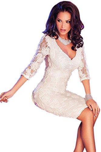 PEGGYNCO Christmas Womens Quarter Sleeves Elegant Lace Midi Dress(White,M)