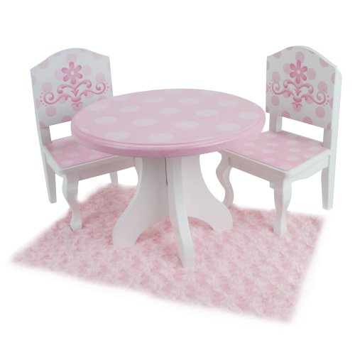 18 inch doll table chairs set fits american girl dolls and more pink and new ebay. Black Bedroom Furniture Sets. Home Design Ideas