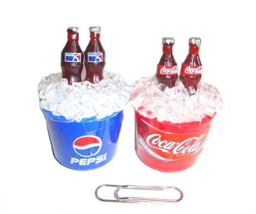 Coca Cola Cokei & Pepsi Cola Collectables Dollhouse Miniature Fridge Magnet 2 Pcs/Set ,Coke Ices Bucket &Pepsi Ices Bucket Pepsi -Cola Magnet front-578113