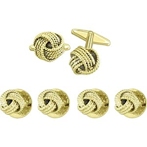 Gold Designer Inspired Loved Knot tuxedo Stud Set