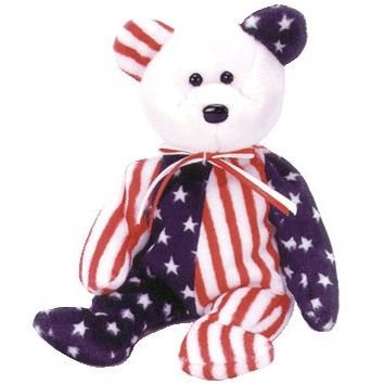 Ty Beanie Babies Spangle - American Bear (White Face)