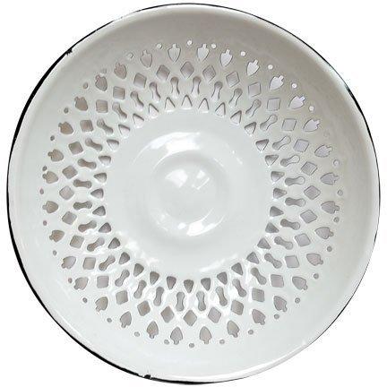Vintage Look Enamel Vented Bread Bowl Plate Rolls Fruit Bowl Enamelware (Bread Enamel compare prices)