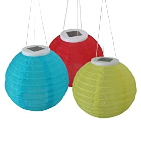 Smart Solar 3780WRM1 Mixed Color Chinese Solar Lantern, 3-Pack