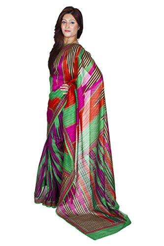 Ninecolours Jamdani Hand Woven Block Printed Silk Sarees 5
