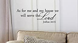 Black 17\'\' X 42\'\' Decalgeek As for me and my house, we will serve the Lord Vinyl wall art Inspirational quotes and saying home decor decal sticker steamss