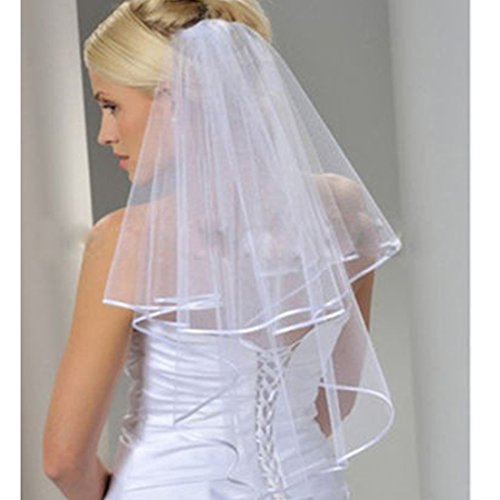Ok Women's Cheap White Ivory Bridal Veils Two Layer Ribbon Edge Wedding Veil with Comb (White)