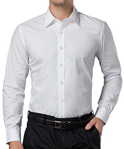 PAUL JONES Mens Casual Slim Fit Dress Shirts White(L)
