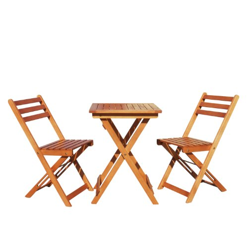 galau Vifah V1381 Outdoor Wood Folding Bistro Set with Square Table and Two