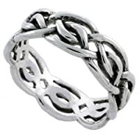 Sterling Silver Celtic Knot Ring Band (Available in Sizes 6 to 10), 1/4 Thick size 6