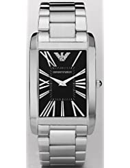 Emporio Armani Men's AR2053 Silver Stainless-Steel Quartz Watch with Black Dial