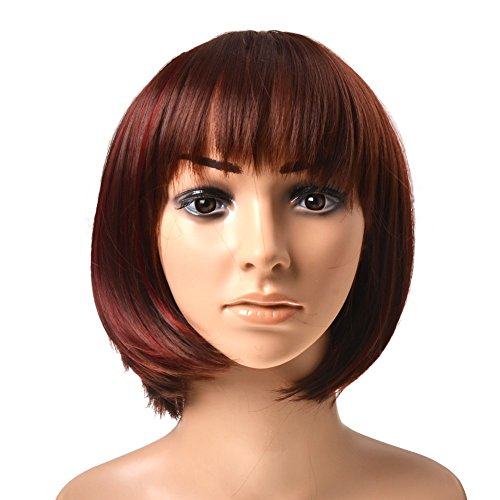 Kamo Sexy Stylish Red & Brown Short Straight Bob Wig Heat Resistant Sythetic Hair Wig