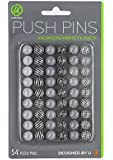 U Brands Fashion Steel Push Pins, Black White & Gray Assorted Colors, 54-Count (575U06-24)