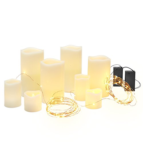 Set of 10 Holiday Lit Decor Party Kit, Includes 8 Ivory Wax Pillar Candles with Warm White LEDs and 2 Sets of Warm White 50 LED Copper Wire Fairy Lights, Batteries Included (White Led Fireplace compare prices)