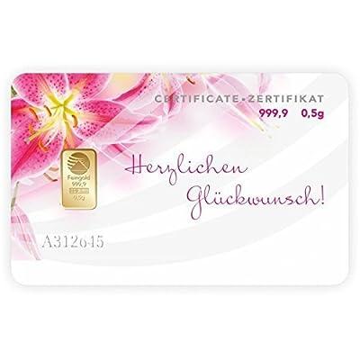 Alles Gute,Geschenkkarte,Goldbarren 0,50 Gramm Nadir Gold 0,5g Pim Gold 0,50g Goldgeschenke