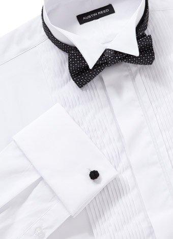 Austin Reed White Wing Collar Four Pleat Dress Shirt REGULAR MENS 16