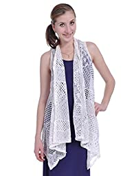 Anna-Kaci Womens Sleeveless Shawl Cardigan Crochet Open Front Bikini Cover Up Vest