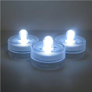 Submersible Battery LED 10 Lights~WHITE~wedding~tea Light from Six Star Lights