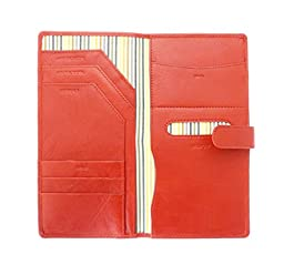 Soft Leather Travel Document Case For Passport, Tickets, Travellers Cheques, Insurance, Money etc - Red Color.
