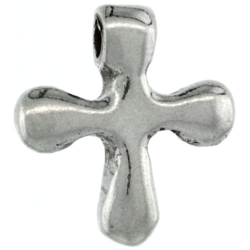 Sterling Silver Tiny Curvy Cross Pendant Slide, 3/4 inch (19 mm) tall