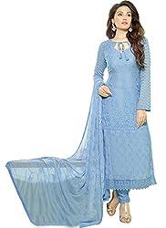 Fashion Kanya Designer Periwinkle Blue Chiffon Dress Material
