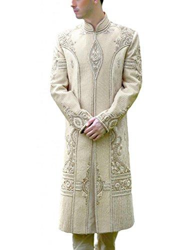 Readiprint Men's Brocade Sherwani (12649_White and Off White_32) (multicolor)