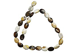 Creamy Marble Oval Stone Bead Strand (16 Inch)