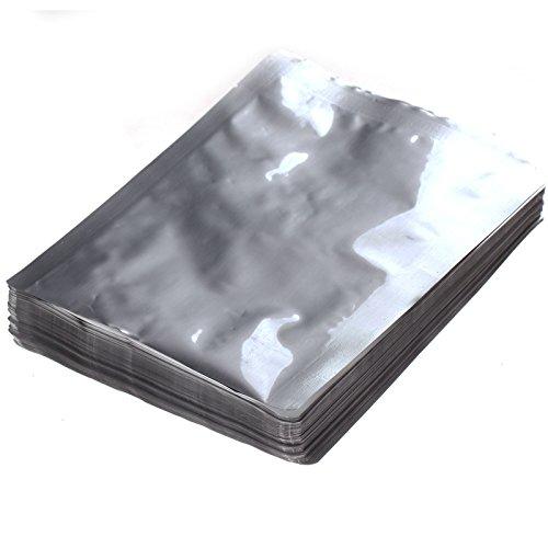 100Pcs Silver Aluminum Foil Mylar Bag Vacuum Sealer Package Shipping Safety Food front-56123