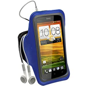 igadgitz Blue Reflective Anti-Slip Neoprene Sports Gym Jogging Armband for HTC One X S720e Android Smartphone Cell Phone