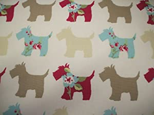 Scottie Dog in Taupe and Duckegg Cotton Curtain Fabric 140cm x 1 metre