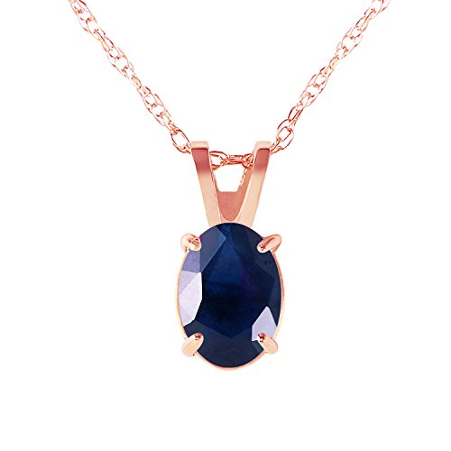 1 Carat 14k Solid Rose Gold Oval-shaped Natural Sapphire Pendant Necklace