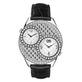 Marc Ecko E12518L2 Ladies Stainless Steel Round Dual Time Zone Watch Swarovski Crystals/Black Leather Strap