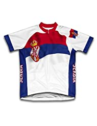 Serbia Flag Short Sleeve Cycling Jersey for Women