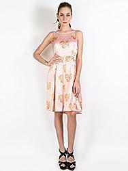 Oshea Peach Floral Print Dress