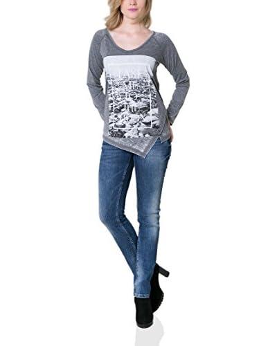 BIG STAR Camiseta Manga Corta Duso_V-Neck_Ls Gris Jaspeado