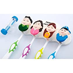 Fun Family Cartoon Characters Suction Cup Toothbrush Holder with Hourglass Timer