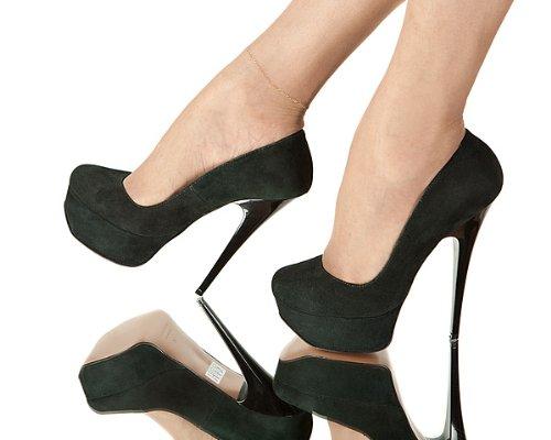 High-Heels-High-Heels-Pumps: Laszivo, Plateau-7, Plateau-Pumps, dunkelgr�n, Gr.38