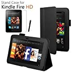 Amazon Kindle FIRE HD Leather Case Cover and Flip Stand Cover Typing Case with Magnetic Sleep Wake Sensor + Screen Protector + Capacitive Stylus Pen (Black)by Invero�