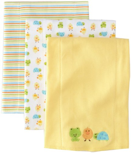 Gerber Unisex-Baby 3 Pack Knit Burpcloths Frog, Yellow, One Size front-109662