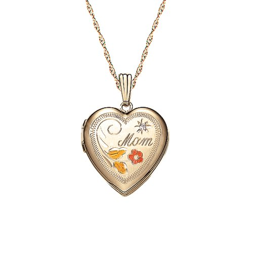 14k Yellow Gold Filled Diamond Accent Heart Locket Pendant with Engraved Mom, 18""