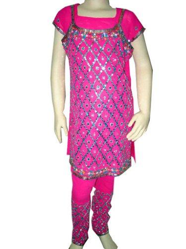 Kids Dress- Dark Pink Sequin Embroidery Kids Wear Churidar Kurta With Dupatta