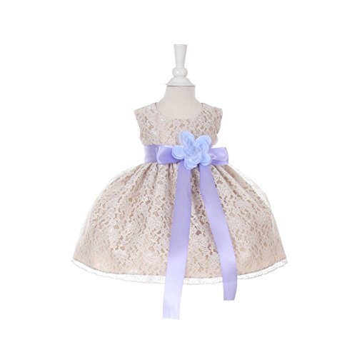 Cinderella Couture Baby Girls Champagne Lace Lavender Sash Sleeveless Dress 6M