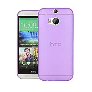 HTC One M8 Back cover, PP [0.35mm] Ultra-Thin / Slim [ Perfect Fit ] Thinnest Hard Protect Case Back Cover Bumper [ Semi-transparent ] Lightweight for HTC One (M8) for Windows (Purple)