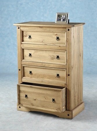 Corona Distressed Waxed Pine 4 Drawer Chest
