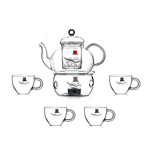 Yiwuyao High-Temperature Glass Teapot With 4 Cups Kettle With Filter With Heater Pack Of 6 Manual Blowing Color Clear 600Ml