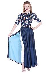Blue Printed Floral Maxi Dress With Side Slit ZSTRDRESS419-M