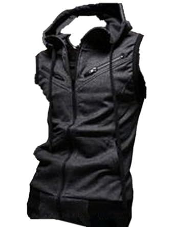 Mens Casual Top Designed Slim Fit Hooded Hoodies Vest Waistcoat Coat Jacket (M (US XS), dark gray)